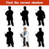 Find the correct shadow, game for children, Doctor. Find the correct shadow, education game for children, Doctor Stock Photos