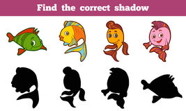 Find the correct shadow. Game for children: Find the correct shadow (fish Stock Photo
