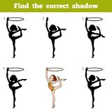 Find the correct shadow, game for children, The gymnast with a h. Find the correct shadow, education game for children, The gymnast with a hoop Stock Photos