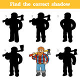 Find the correct shadow, game for children, Lumberjack Stock Photo