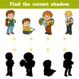 Find the correct shadow, game for children, Schoolchildren. Find the correct shadow, education game for children, Schoolchildren Royalty Free Stock Image