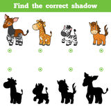 Find the correct shadow, game for children. Set of animals. Find the correct shadow, education game for children. Vector set of animals Royalty Free Stock Images
