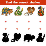 Find the correct shadow, game for children. Set of animals. Find the correct shadow, education game for children. Vector set of animals Stock Photos