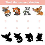 Find the correct shadow, game for children. Set of animals. Find the correct shadow, education game for children. Vector set of animals Stock Photo