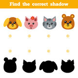 Find the correct shadow, game for children. Set of cartoon anima. Find the correct shadow, education game for children. Set of cartoon animals Stock Image