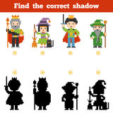 Find the correct shadow, game for children. Set of characters. Find the correct shadow, education game for children. Set of cartoon fairy-tale characters Stock Image