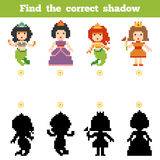 Find the correct shadow, game for children. Set of characters. Find the correct shadow, education game for children. Set of cartoon fairy-tale characters Stock Photography