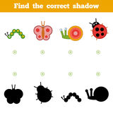 Find the correct shadow, game for children. Set of insects Royalty Free Stock Photography