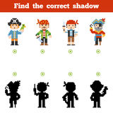 Find the correct shadow, game for children. Set of pirate. Find the correct shadow, education game for children. Set of cartoon pirate characters Royalty Free Stock Photos
