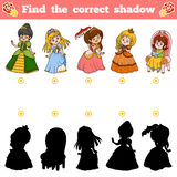 Find the correct shadow, game for children. Set of princess. Find the correct shadow, education game for children. Vector set of princess Stock Image