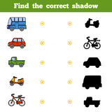 Find the correct shadow, game for children. Set of transport. Find the correct shadow, education game for children. Set of cartoon transport Royalty Free Stock Photo