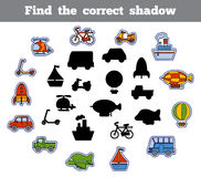 Find the correct shadow, game for children. Set of transport. Find the correct shadow, education game for children. Set of cartoon transport Stock Images