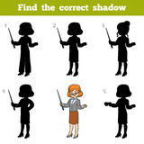 Find the correct shadow, game for children, Teacher. Find the correct shadow, education game for children, Teacher Royalty Free Stock Image