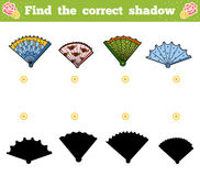 Find the correct shadow, game for children. Vector set of fans. Find the correct shadow, education game for children. Vector set of fans Royalty Free Stock Image