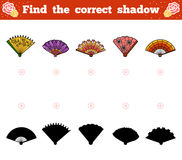 Find the correct shadow, game for children. Vector set of fans Stock Photos