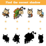 Find the correct shadow, game for children. Vector set of insect Stock Photo