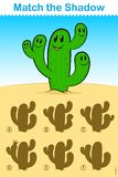 Find the correct shadow, game for kids - cactus Stock Photos