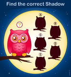 Find the correct shadow, game for kids - cute owl. Find the correct shadow, education game for children - owl and moon halloween theme Stock Photography