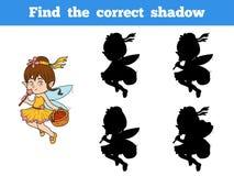 Find the correct shadow game (little girl fairy). Find the correct shadow game for children (little girl fairy Stock Photos