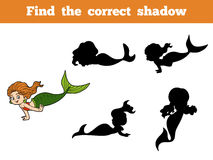 Find the correct shadow game (little girl mermaid). Find the correct shadow game for children (little girl mermaid Stock Photo