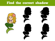 Find the correct shadow game (little girl mermaid) Stock Image