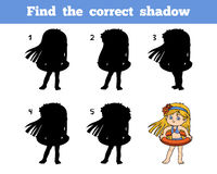 Find the correct shadow, girl on the beach Royalty Free Stock Photo