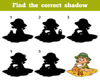 Find the correct shadow, girl on the beach. Find the correct shadow, education game for children. Girl on the beach Stock Photos