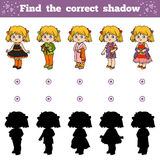 Find the correct shadow, Girls Stock Photo
