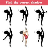 Find the correct shadow, The gymnast girl. Find the correct shadow, education game for children, The gymnast girl Stock Photo