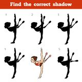 Find the correct shadow, The gymnast and juggling clubs. Find the correct shadow, education game for children, The gymnast and juggling clubs Royalty Free Stock Photos