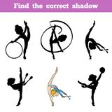 Find the correct shadow, The gymnast and juggling clubs. Find the correct shadow, education game for children, The gymnast and juggling clubs Royalty Free Stock Images
