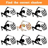 Find the correct shadow, The gymnast with a ribbon. Find the correct shadow, education game for children, The gymnast with a ribbon Stock Photography
