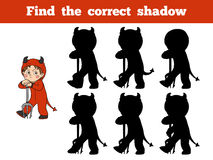 Find the correct shadow: Halloween character (devil). Find the correct shadow, game for children: Halloween character (devil Royalty Free Stock Photo