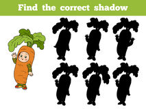 Find the correct shadow: Halloween Characters (carrot costume). Find the correct shadow: Halloween Characters (boy in a carrot costume Royalty Free Stock Photo