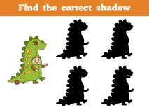 Find correct shadow: Halloween characters (dinosaur costume). Find correct shadow, game for children: Halloween characters (dinosaur costume Stock Photo