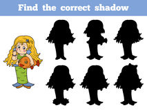 Find the correct shadow: Halloween Characters (girl mermaid). Find the correct shadow: Halloween Characters (girl, little mermaid Royalty Free Stock Images