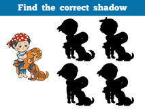 Find the correct shadow: Halloween Characters (pirate). Find the correct shadow: Halloween Characters (pirate boy and dog Royalty Free Stock Images
