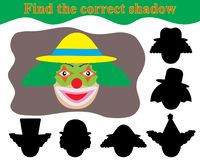 Find the correct shadow. Happy face clown. Educational game for children Royalty Free Stock Image
