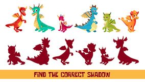 Kid dragon find correct shadow game vector cartoon illustration. Find correct shadow kid puzzle vector illustration. Cartoon children quiz game to match shadow Royalty Free Stock Photo