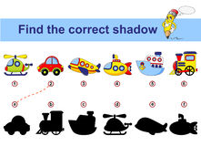 Find correct shadow. Kids educational game. Cartoon transport. Car, submarine, ship, plane, train, helicopter. Find correct shadow. Kids educational game vector illustration