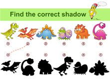 Find correct shadow. Kids educational game. Dinosaurs. Vector illustration isolated on white background Royalty Free Stock Photo
