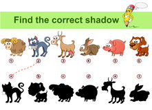 Find correct shadow. Kids educational game. Farm animals. Sheep, cat, goat, rabbit, dog, pig. Find correct shadow. Kids educational game. Vector illustration Stock Image