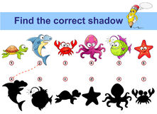 Find correct shadow. Kids educational game. Sea animals. Turtle, shark, crab, octopus, monkfish, starfish Royalty Free Stock Image
