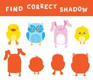 Find the correct shadow learning activity for children. Vector entertainment game with animals.  Royalty Free Stock Image