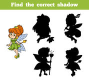 Find the correct shadow (little fairy). Find differences, education game for children (little fairy Stock Photos