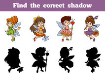 Find the correct shadow (little fairy). Find the correct shadow, education game for children (little fairy Stock Photography