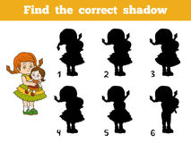 Find the correct shadow. Little girl with a doll in hands. Find the correct shadow, education game for children. Little girl with a doll in hands Royalty Free Stock Photo