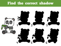 Find the correct shadow. Little panda. Find the correct shadow, education game for children. Little panda Stock Photography