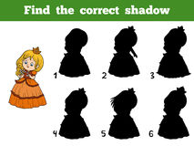 Find the correct shadow, little princess with a flower. Find the correct shadow, education game for children, little princess with a flower Royalty Free Stock Photography