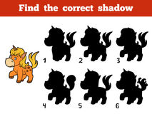 Find the correct shadow. Little unicorn Royalty Free Stock Image